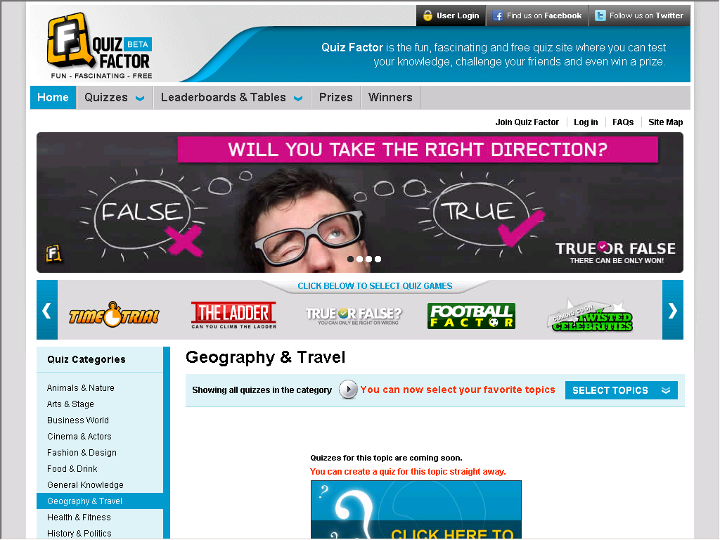 Quiz Factor - Free, Fun Quiz Questions and Answers - Web Directory