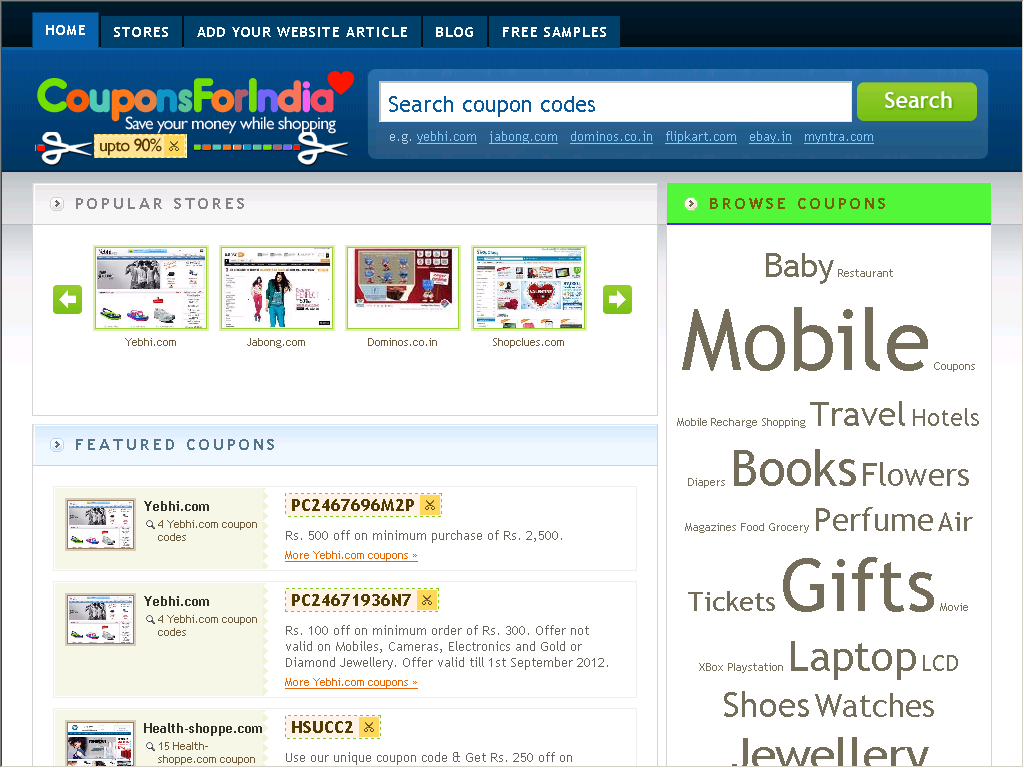 Coupon Codes Promotion Codes Discount Coupon India Web Directory