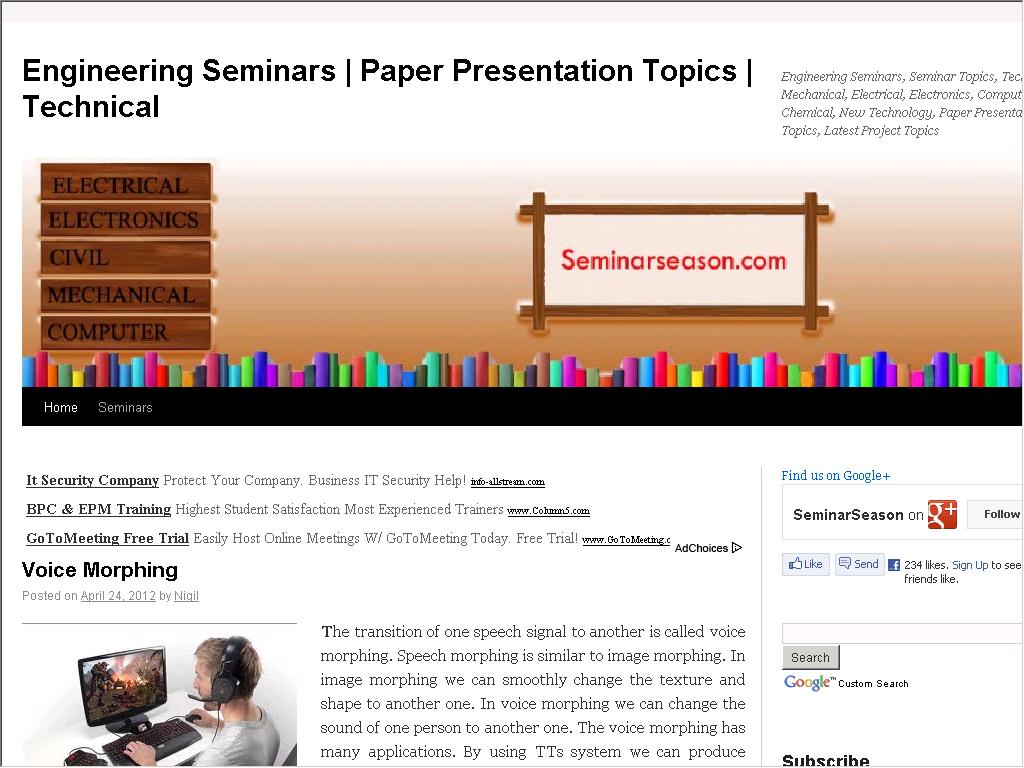 Engineering Seminars Topics - Web Directory