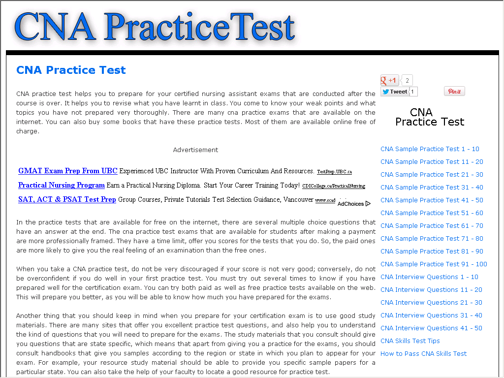 cna test practice questions sample answers directory