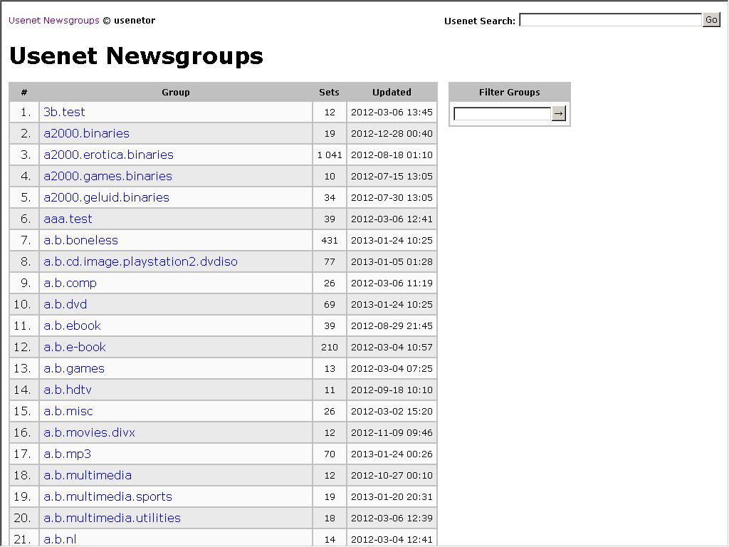 Usenetor - Usenet Newsgroups Indexer - Web Directory