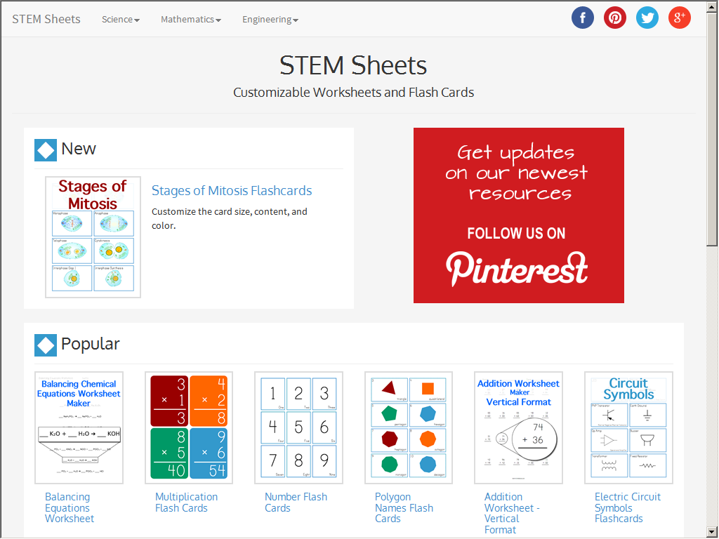 STEM Sheets - Free printable education resources - Web Directory